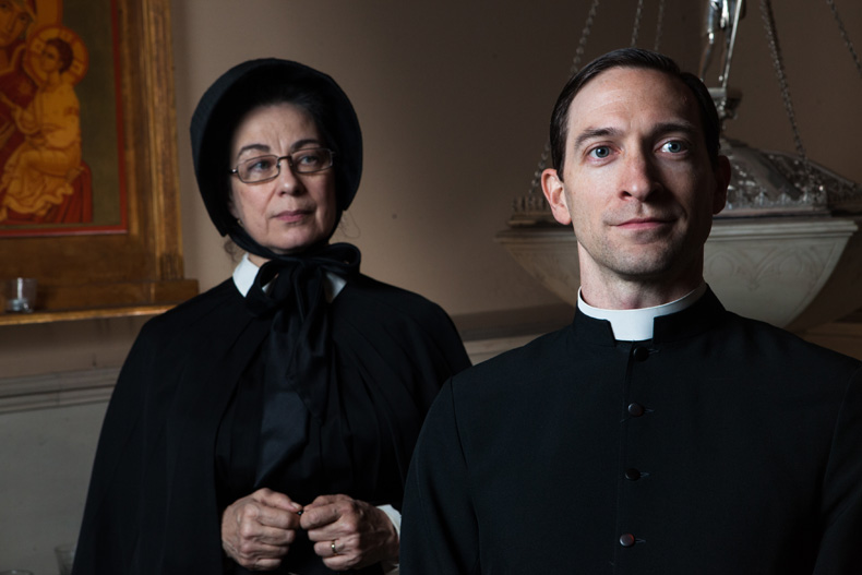 Mary Martello as Sister Aloysius Beauvier and Ben Dibble as Father Brendan Flynn in Lantern Theater Company's production of DOUBT: A PARABLE. Photo by Plate 3 Photography.