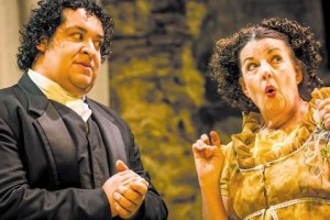 Susan Wefel (right) with Hedgerow fellow Joel Guerrero in PRIDE AND PREJUDICE (Hedgerow Theatre, 2013).