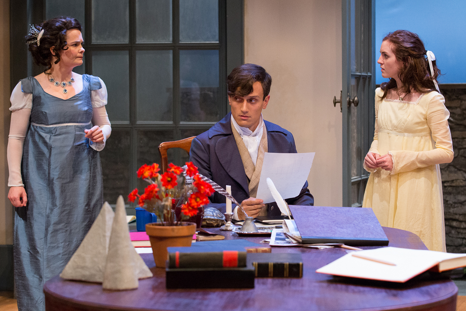 Charlotte Northeast, Maxwell Eddy, and Alex Boyle in Lantern Theater Company's ARCADIA, directed by KC MacMillan (Photo credit: Mark Garvin)