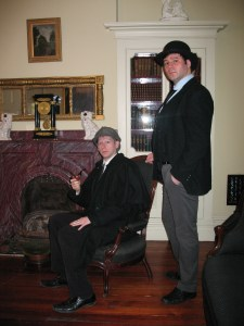 Holmes (Josh Hitchens) and Watson (Peter Zielinski) at home in the Ebeneezer Maxwell Mansion.