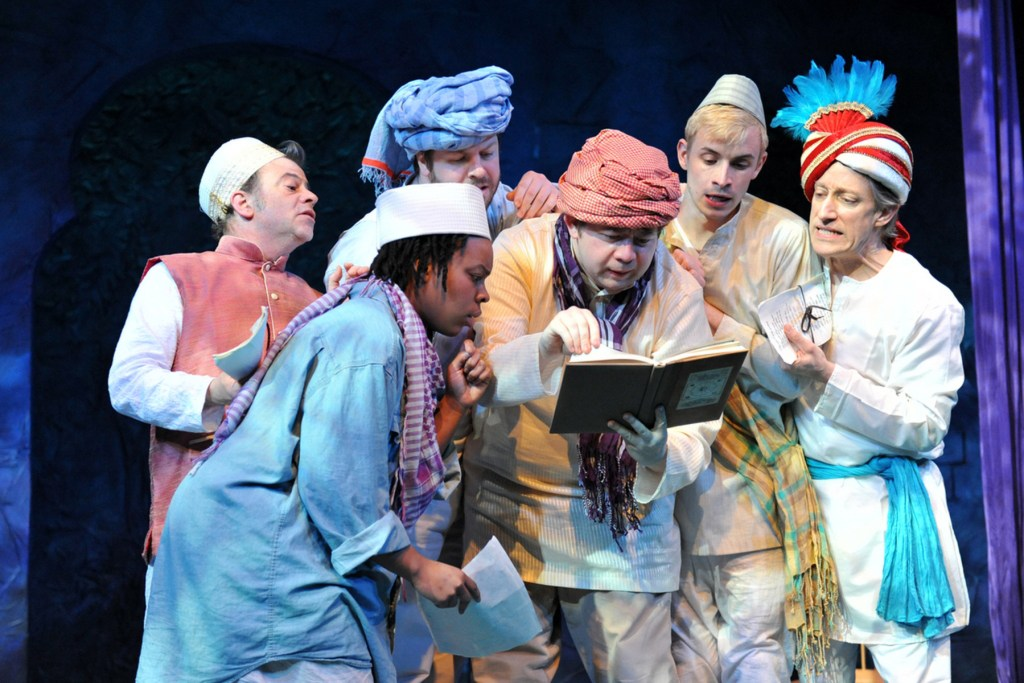 The cast of MIDSUMMER NIGHT'S DREAM: Michael Gamache, John Zak, John Schultz, Greg Giovanni, Aaron Kirkpatrick, Ife Foy; Photo credit: Kendall Whitehouse.