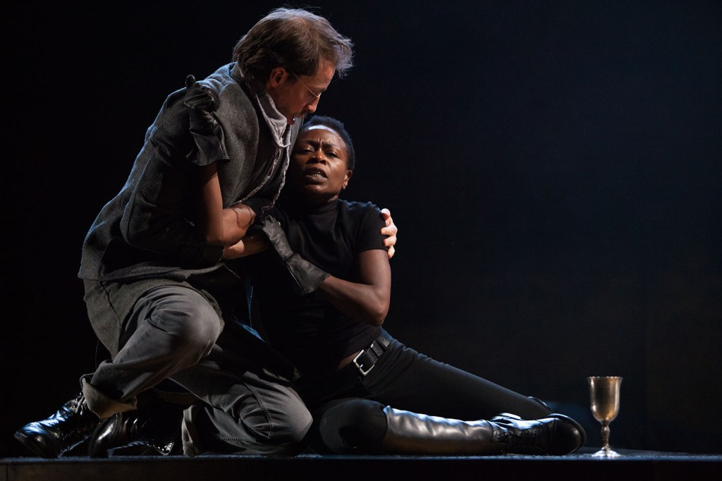 Ross Beschler and Zainab Jah in HAMLET. Photo by Alexander Iziliaev.