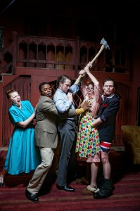 Kyra Baker, Newton Buchanan, Andrew J. Carroll, Aetna Gallagher, and Doug Greene in NOISES OFF. Photo by Kyle Cassidy.