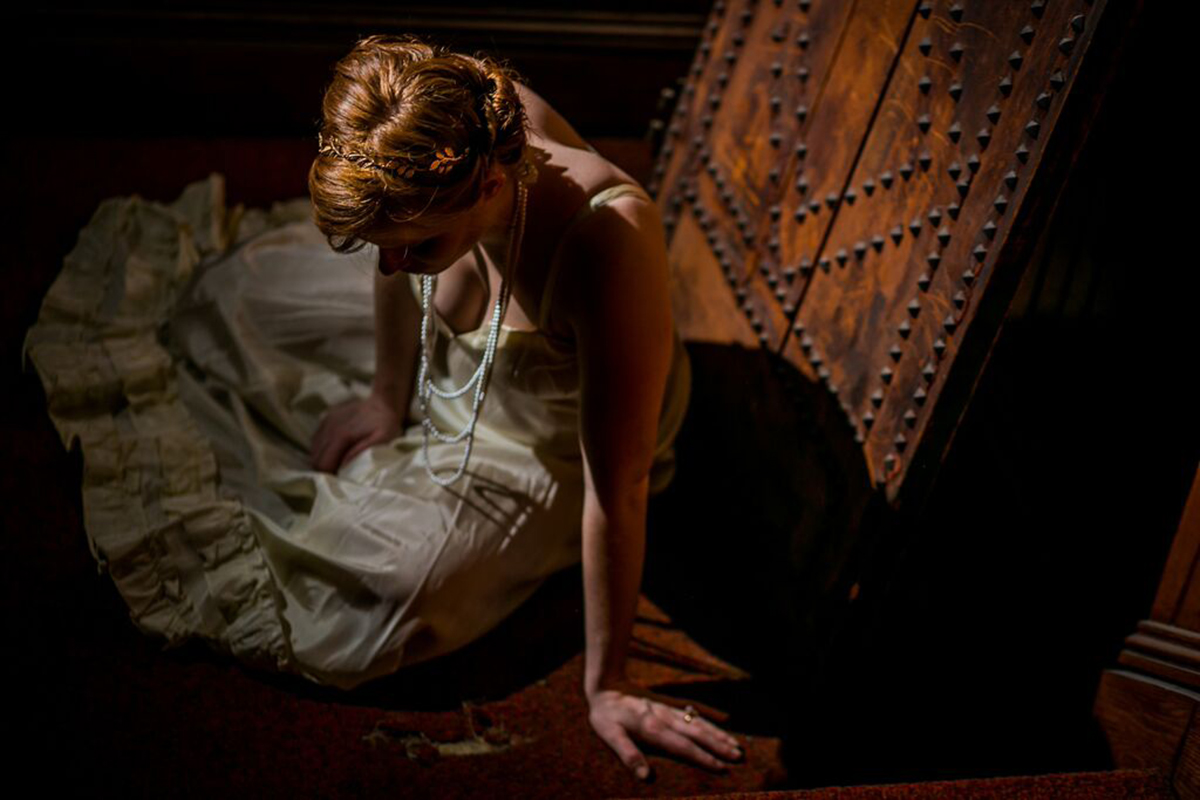 Rachel Brodeur in a promotional image for the Philadelphia Artists' Collective's THE CAPTIVE (Photo credit: Ashley LaBonde and Wide Eyed Studios)