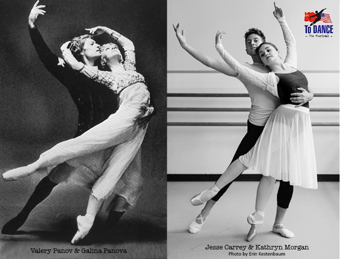 Valery Panov and Galina Panova (left) are played by Jesse Carrey and Kathryn Morgan (right) in TO DANCE (Photo credit: Erin Kestenbaum)