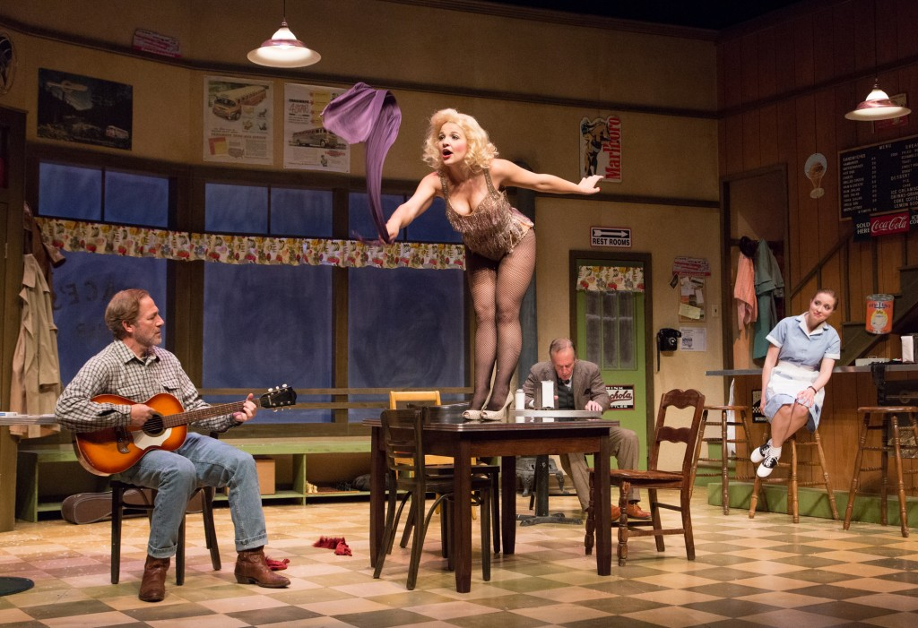Bruce Sabath, Jessica Wagner, Mark Jacoby and Linda Elizabeth in BUS STOP. Photo by Mark Garvin