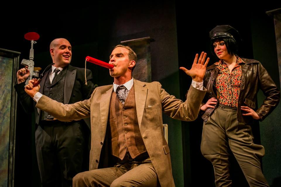 Josh Portera, Brock Vickers and Allison Bloechl in BULLSHOT CRUMMOND. Photo by Ashley LaBonde.
