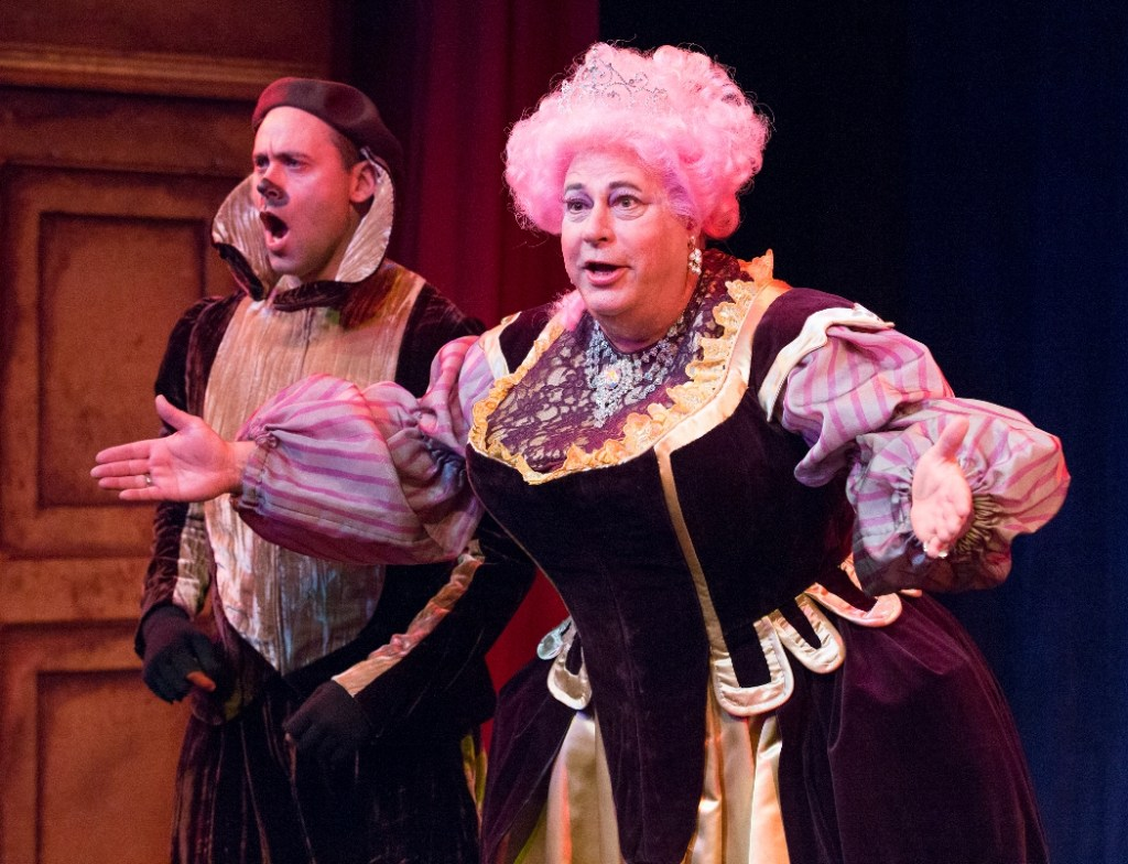 Dito Van Reigersberg as Horace the Hound and Mark Lazar as Queen Agnes of Malvaria in THE THREE MUSKETEERS at People's Light (Photo credit: Mark Garvin)