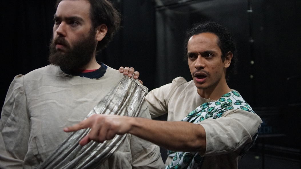 James Guckin as Chremylos and Carlos Forbes as Cario in Once More Theatre's PLUTUS (Photo credit: Alexis Mayer)