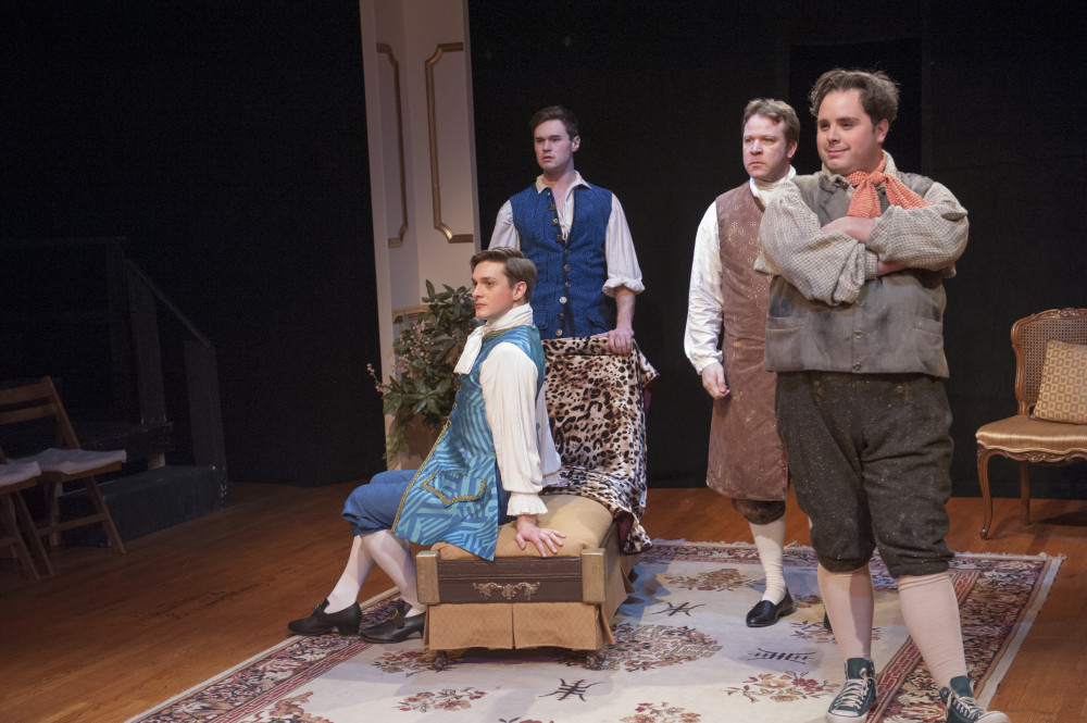 David Reese Hutchison, Kevin Murray, Matt Tallman, and Grant Uhle in THE SISTERHOOD. Photo by John Flak.