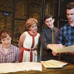 Abby Mueller (Carole King), Becky Gulsvig (Cynthia Weil), Ben Fankhauser (Barry Mann) & Liam Tobin (Gerry Goffin) in BEAUTIFUL. Photo by Joan Marcus