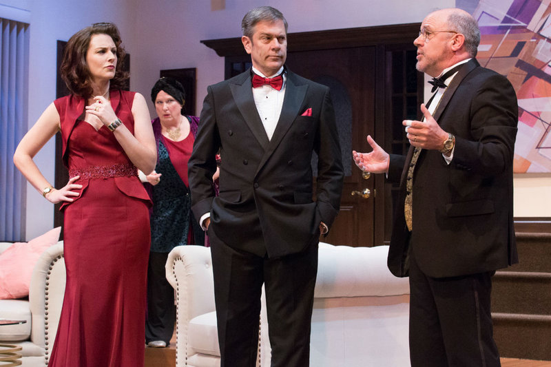 (l-r) Eleanor Handley, Jo Twiss, Leonard C. Haas, and Bruce Graham in Bristol Riverside Theatre's production of Neil Simon's RUMORS. Photo by Mark Garvin.
