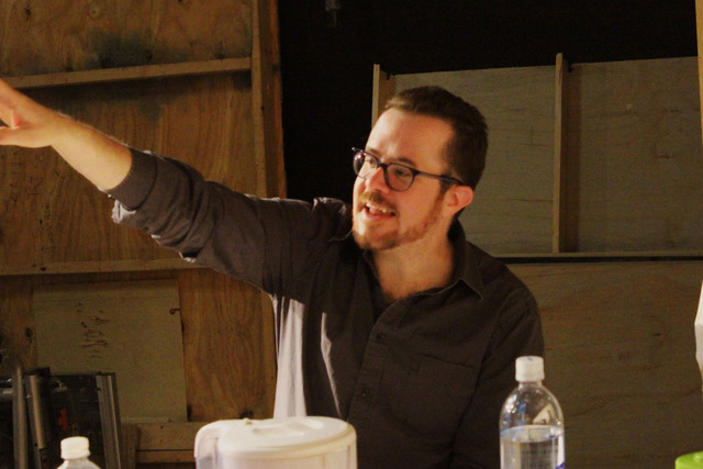 Matt Pfieffer at the first rehearsal for THE INVISIBLE HAND.