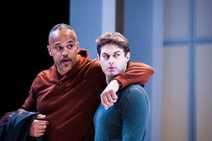 Keith Hamilton Cobb as Julius Caesar and Spencer Plachy as Mark Antony. Photo by Lee A. Butz