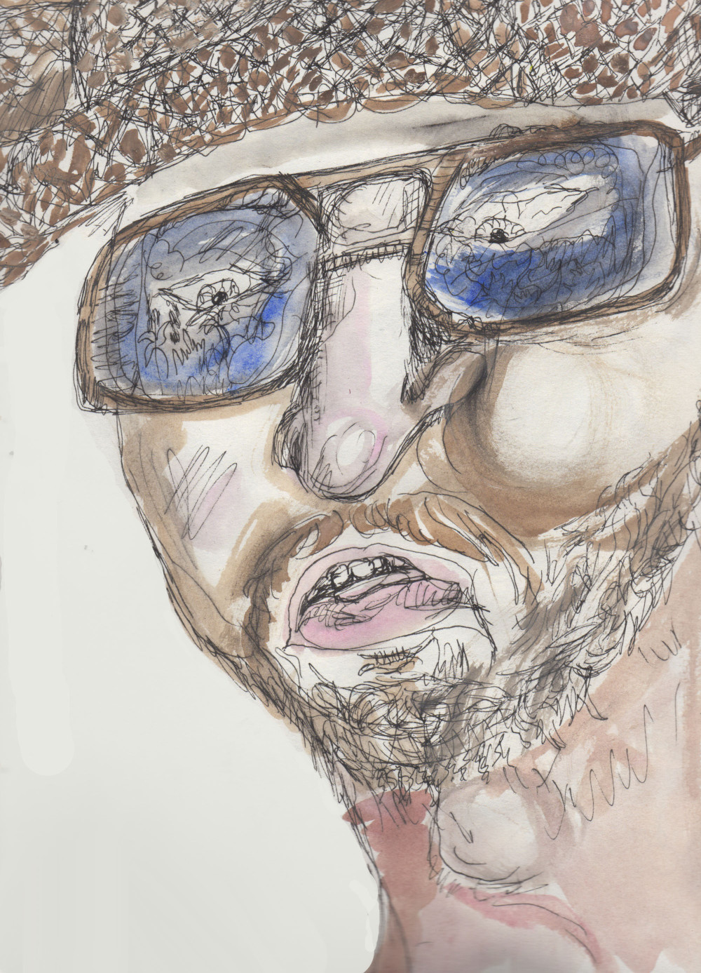 Chris Davis in One-Man Apocalypse Now as sketched by Chuck Schultz.