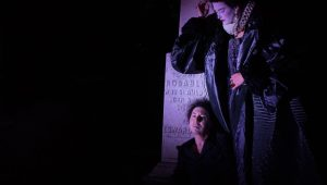 Rudy Caporaso as Hamlet and Susanna Herrick as the Player Queen in REV Theatre Company's production of HAMLET.