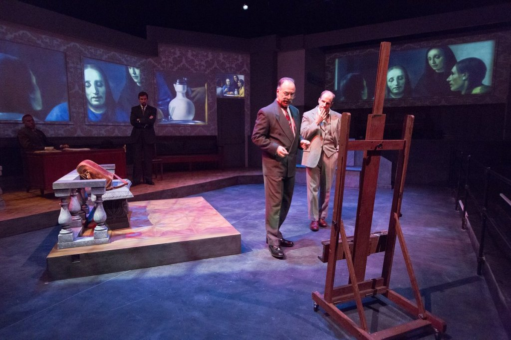 Anthony Lawton, Paul L. Nolan, Mary Lee Bednarek, and Dan Hodge in Lantern Theater Company's world premiere production of Bruce Graham's THE CRAFTSMAN. Photo by Mark Garvin.