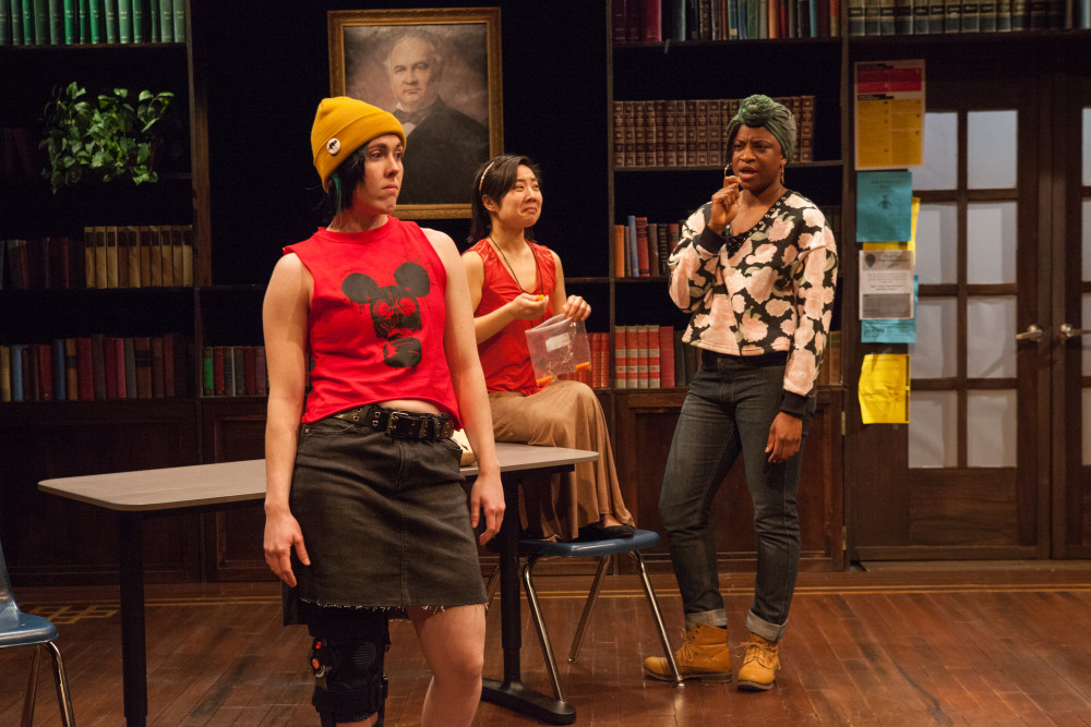 Emily Lynn, Bi Jean Ngo, and Brett Robinson in female roles in SENSITIVE GUYS. Photo by Kate Raines.