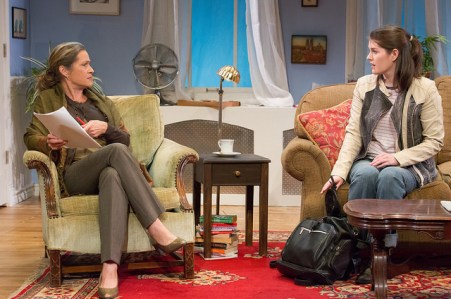 Susan Riley Stevens as Prof. Ruth Steiner and Sarah Paton as Lisa Morrison. Photo by Mark Gavin