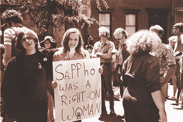 Thom Nickels, age 18, on the right side with friend, Lee Robins, at the Christopher Street March NYC 1970.