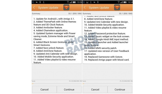 Gionee Elife S5.1 - Android Lollipop Update Screenshots