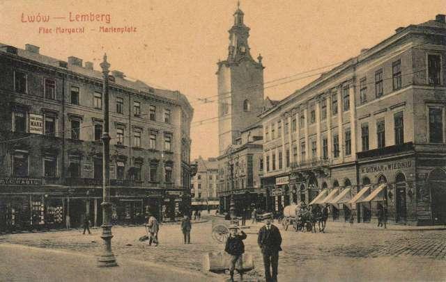 Фрагмент Марійської площі із будинком Шмідта (праворуч). Поштівка поч. XX ст.