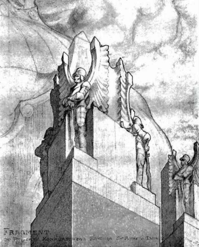 Фрагмент проекту оздоблення костелу Анни у Львові на планах варшавського архітектора  Осара Сосновського. 1912 рік