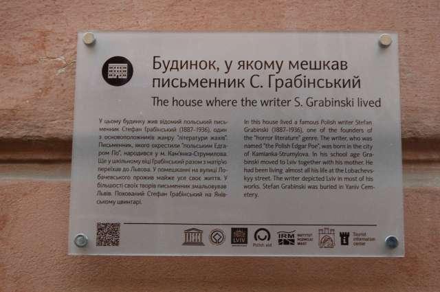 Пам'ятна табличка на будинку де мешкав С.Грабінський. Фото 2015 року
