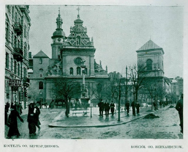 Церква святого Андрія Первозванного (колишній костел Бернардинів, зараз греко-католицький храм), фото зима 1914-1915 років