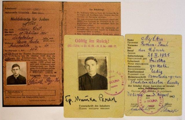Фіктивне посвідчення послушника-студита, видане Курту Левіну на ім'я Романа Митки під час переховування, 1943 р.