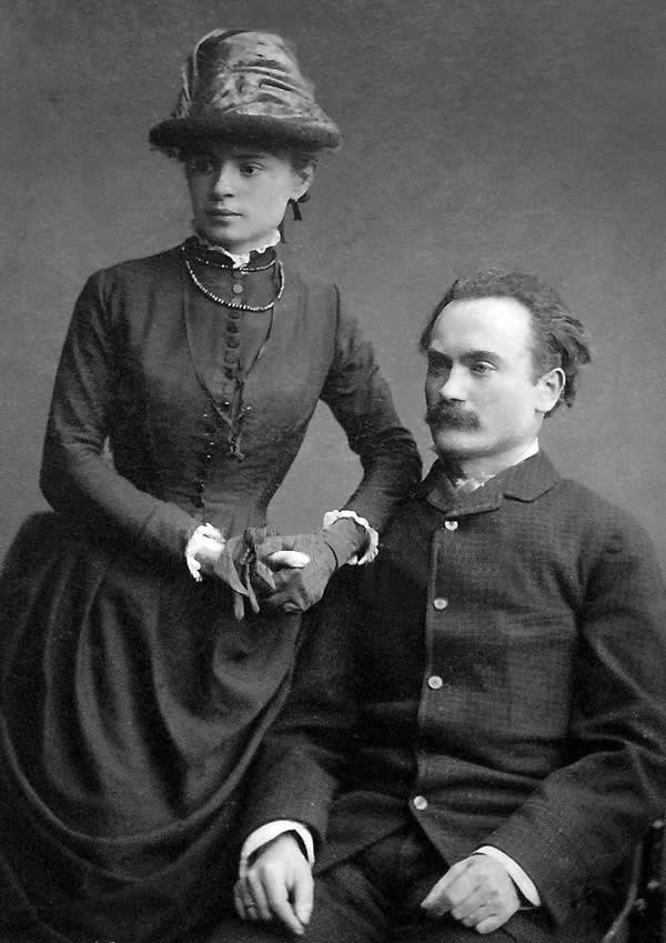 Іван Франко з дружиною Ольгою Хоружинською 1886 р. сфотографувались у Влодзімежа Висоцького одразу після одруження на пораду польської письменниці Елізи Ожешко.
