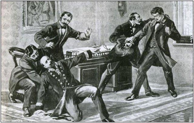 Мирослав Січинський стріляє в АнджеяПотоцього. Малюнок 1908 року