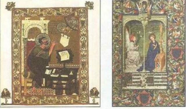 Книжкові мініатюри з Остромирового Євангелія та Часослова герцога Берійського