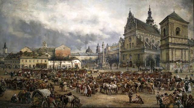 Тадеуш Рибковський. Ринок на Великдень біля Бернардинського костелу у Львові, 1895
