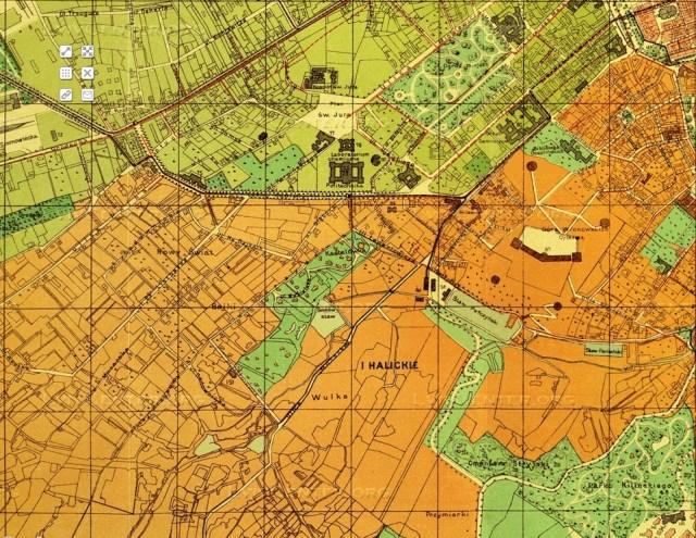 План міста Львова 1895 року, на якому Кастелівка позначена як окрема зелена зона міста