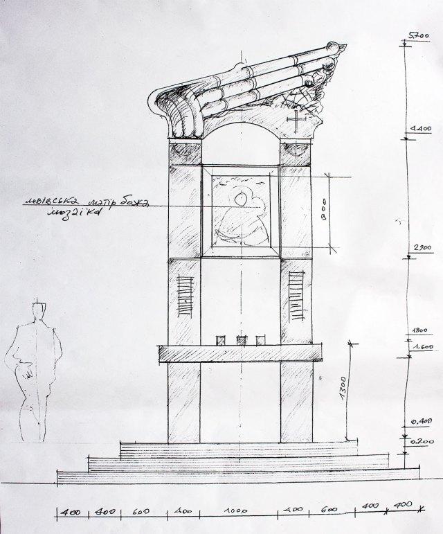Проект каплиці на місці загибелі Бориса Возницького роботи Ореста Скопа