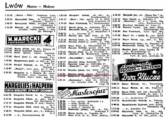 Телефонний номер ресторації Якуба Маселка на сторінках телефонного довідника Львова, 1939 рік