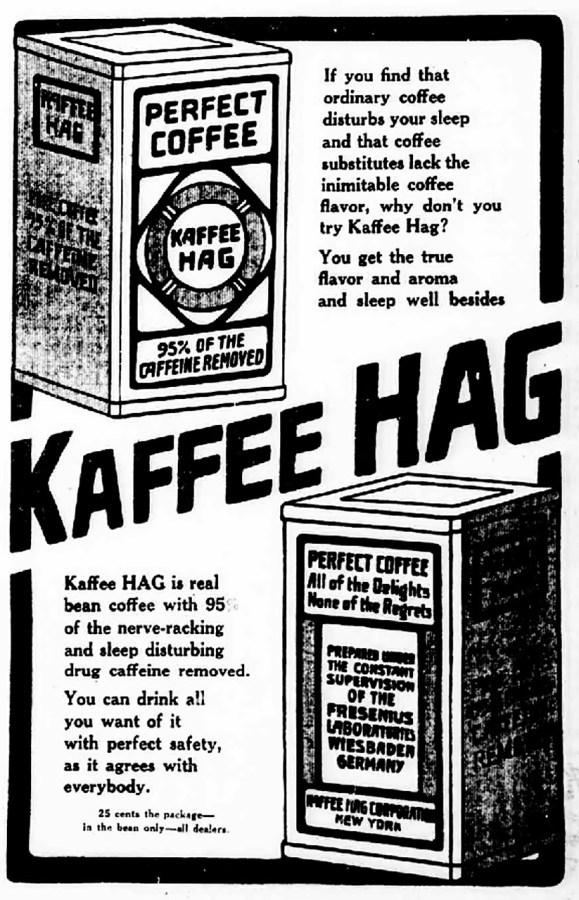 Американська газетна реклама кави HAG, початок XX ст.