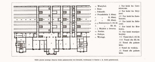 Ескіз плану нового Головного вокзалу, який відкрили у 1904 році