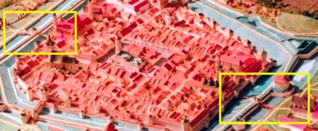 Єзуїтська брамка на пластичній панорамі міста зліва (джерело фото https://uk.wikipedia.org/wiki/%D0%9C%D1%96%D1%81%D1%8C%D0%BA%D1%96_%D1%85%D0%B2%D1%96%D1%80%D1%82%D0%BA%D0%B8_%D0%9B%D1%8C%D0%B2%D0%BE%D0%B2%D0%B0)