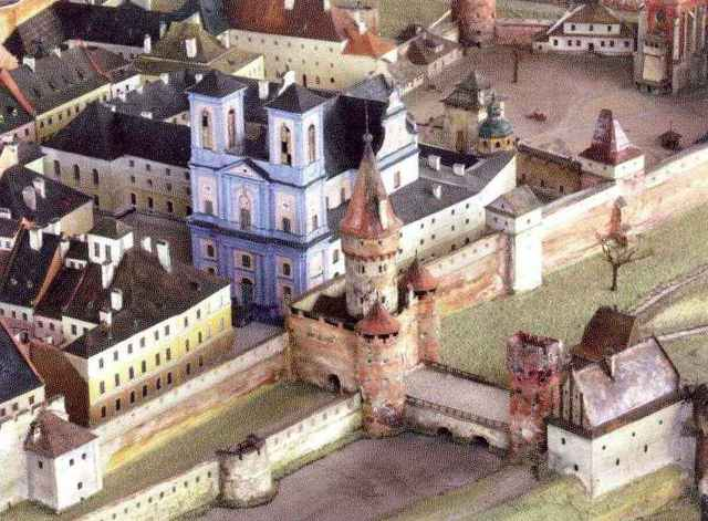 Краківська брама та монастир Трінітаріїв на пластинчастій панорамі Львова Януша Вітвіцького
