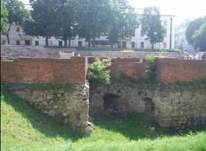 Залишки низького муру з бастеєю, під котрою була босацька хвіртка.