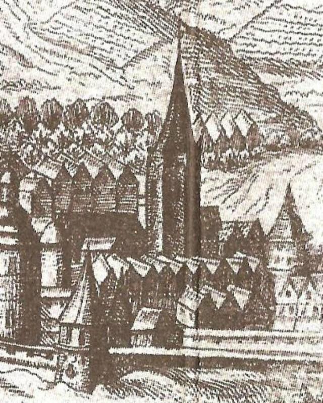 Вежа кушнірів на панорамі 1608 року. Фото з https://uk.wikipedia.org