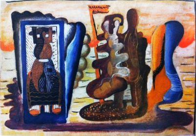 Генріх Штренг (Марк Влодарський), Ті, що пливуть в небесах, 1931р. Папір, гуаш