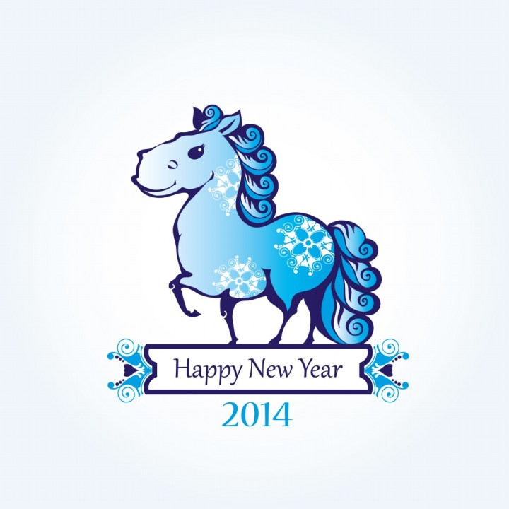 Horses Happy New Year 2014.7 Lunar Chinese New Year Card Design 2014