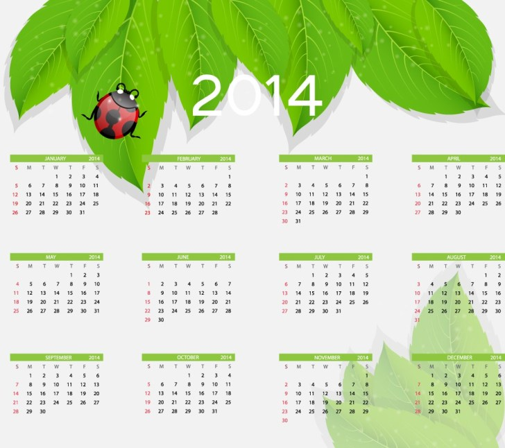 New Year 2014 Calendar Design 1