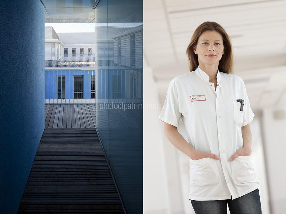 Hôpital de Cannes, Dr Azoulay - un patio © Michel Bourguet