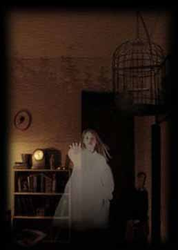 A ghostly young girl, glimpsed through a window.