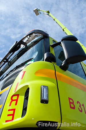 ACT Fire Brigade's 44 metre Bronto F44RLX-ERX Ladder Platform, or Scania P380 Cab Chassis. Bodywork by Liquip of Queensland