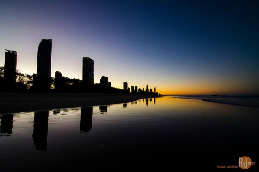 Sun is setting on the beach